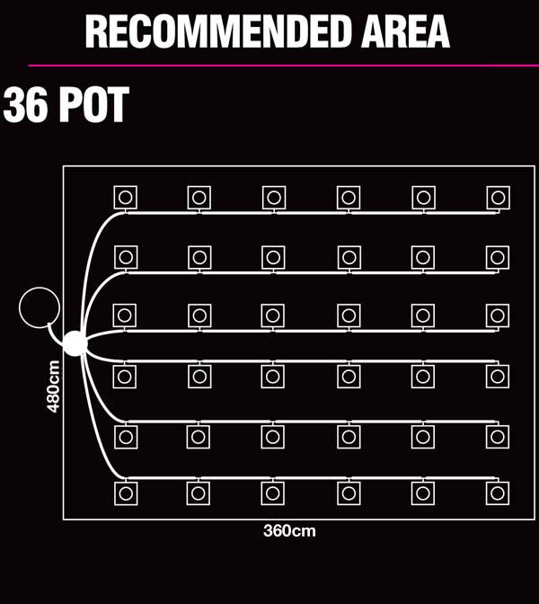36 Pot Recommended Area
