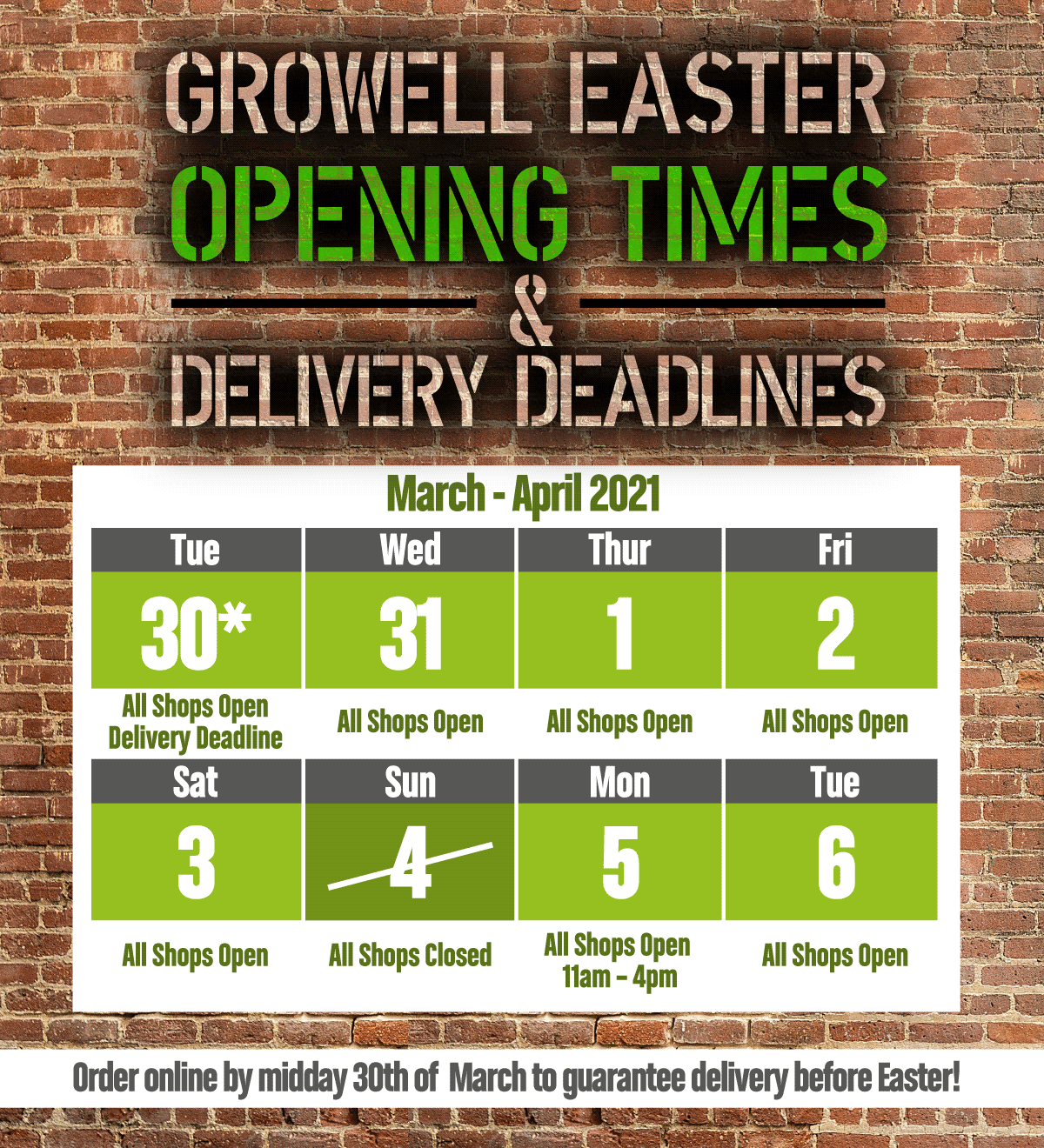 Easter Opening Times & Delivery Deadlines